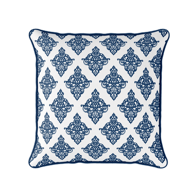 Damask pattern piped cushion navy