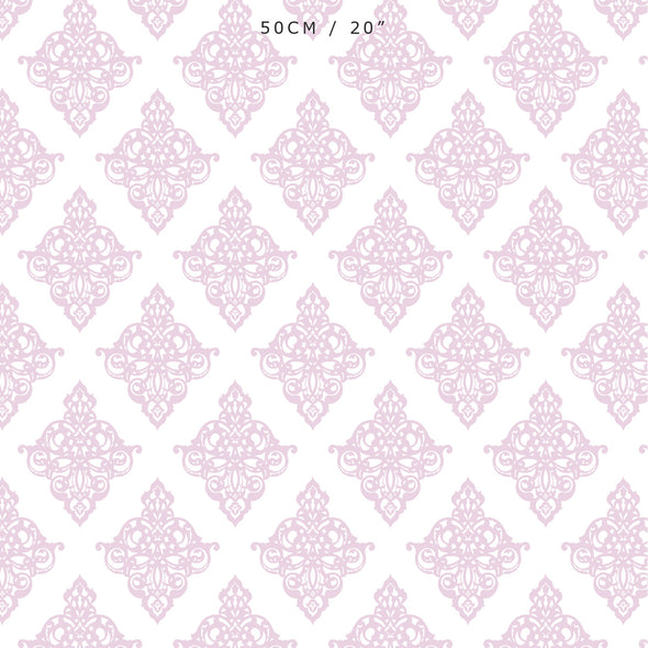 Peony pink damask scroll fabric