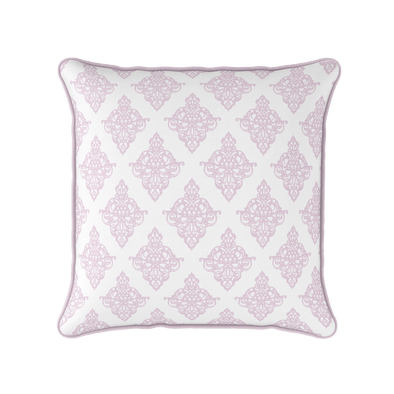 Damask pattern piped cushion pale pink