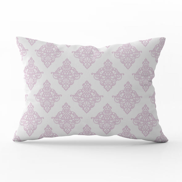 Peony pink rectangle damask cushion