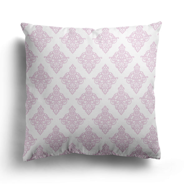 damask scroll cushion peony pink