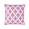 Damask pattern piped cushion raspberry pink