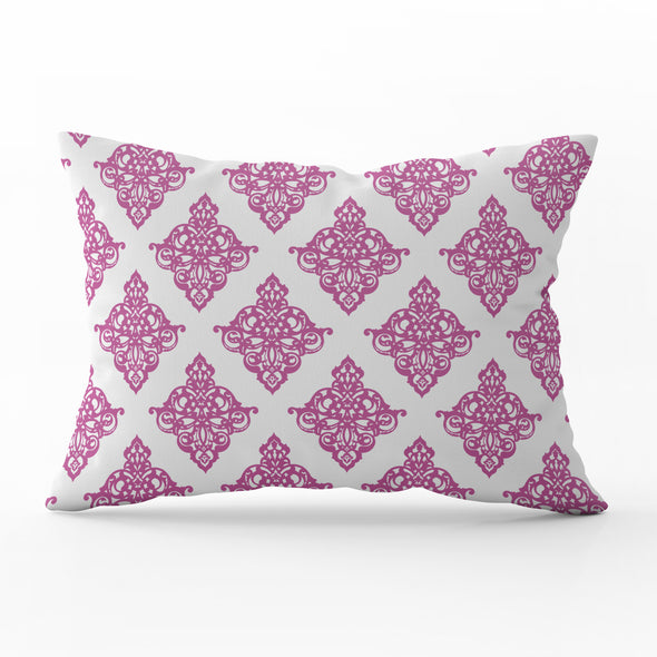 damask lumbar cushion raspberry