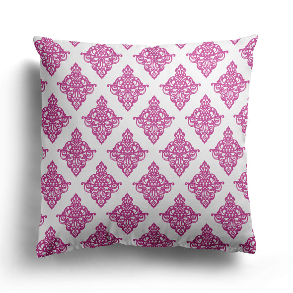 raspberry pink damask cushion