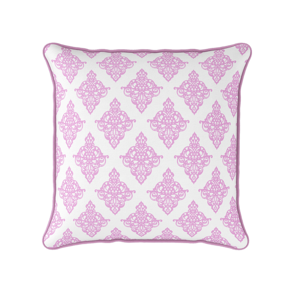 Damask pattern piped cushion pink