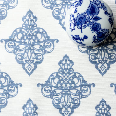 Damask scroll blue fabric