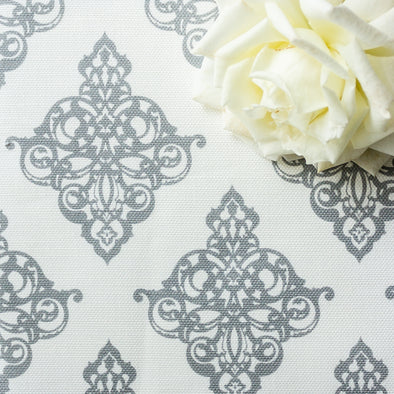 Damask Fabric Koala Grey