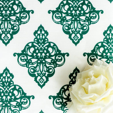 Damask Fabric Leaf dark green