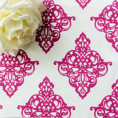 Damask fabric raspberry pink