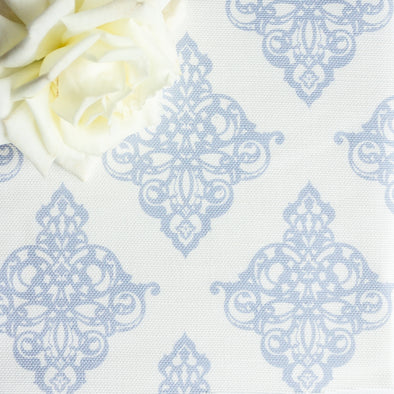 Damask scroll fabric serenity blue