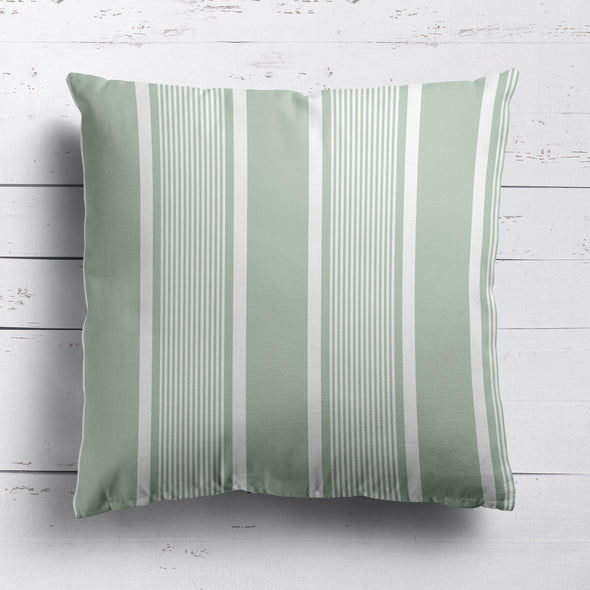 Deckchair stripe cotton linen cushion Eau de Nil green