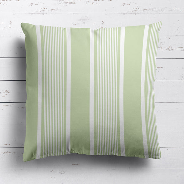 Deckchair stripe cotton linen cushion Elderflower green