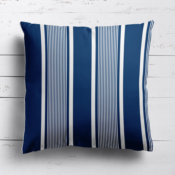 Deckchair stripe cotton linen fabric Navy blue