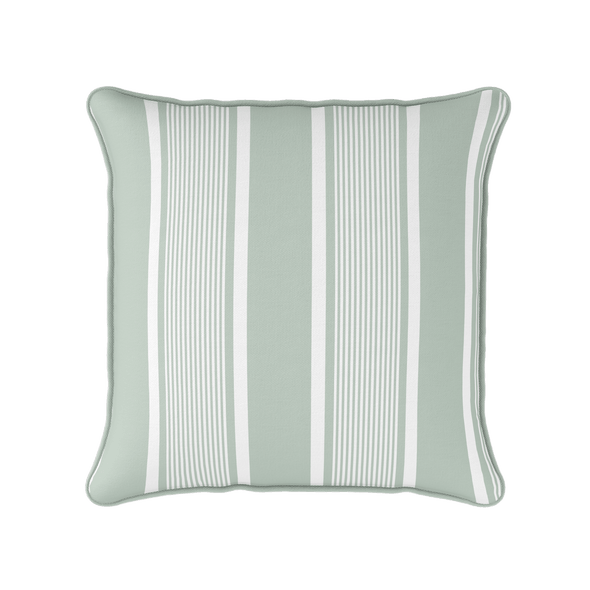 eau de nil green deckchair stripe piped cushion