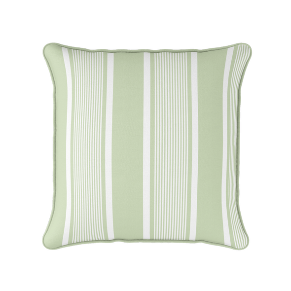 light green deckchair stripe piped cushion