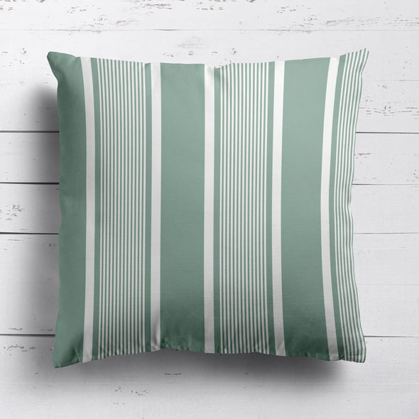 Deckchair stripe cotton linen cushion Eucalyptus green