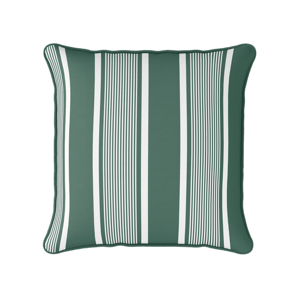 dark green deckchair stripe piped cushion