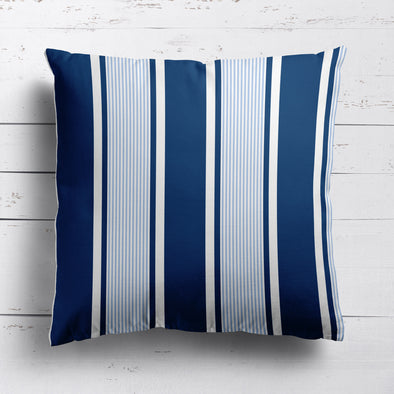 Deckchair stripe cotton linen cushion blues