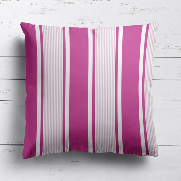 Deckchair stripe cotton linen fabric bright pink