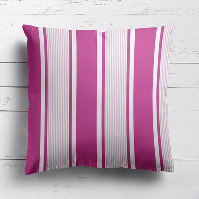 Deckchair stripe cotton linen cushion pinks