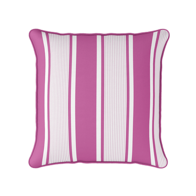 Pink multi stripe piped cushion