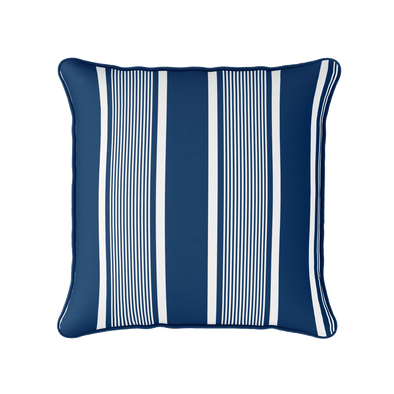 navy blue deckchair stripe piped cushion