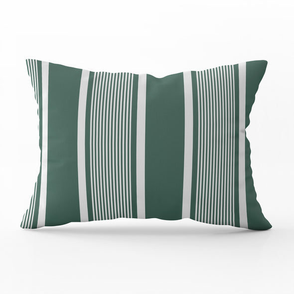 green deckchair stripe piped cushion