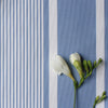 Deckchair stripe cotton linen fabric Breeze blue