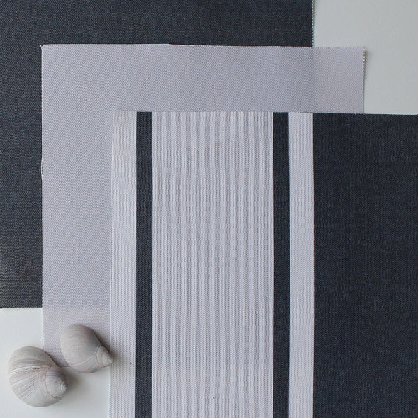 Deckchair Stripe Multi Fabric - Graphite-Dove