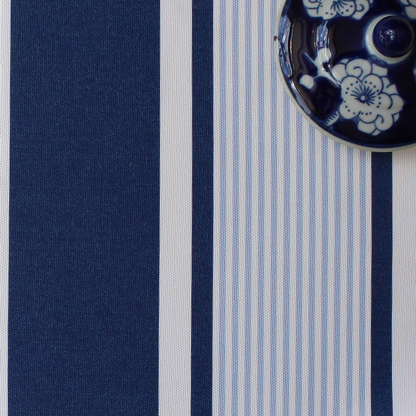 Deckchair stripe cotton linen fabric blues
