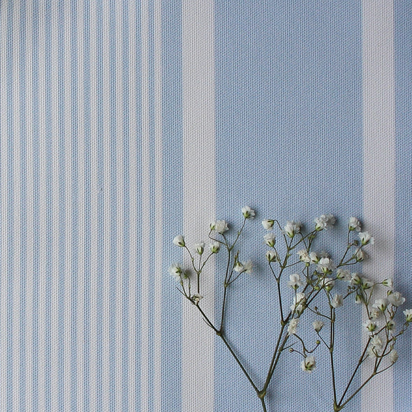 Deckchair stripe cotton linen fabric Serenity pale blue