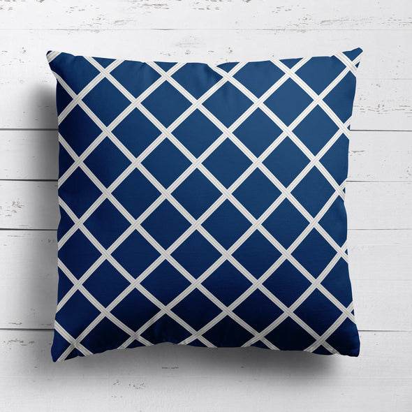 Diamond Trellis Fabric - Navy with Linen