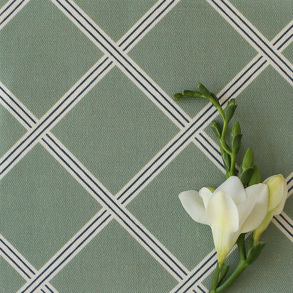Diamond Trellis Fabric - Eucalyptus with Navy