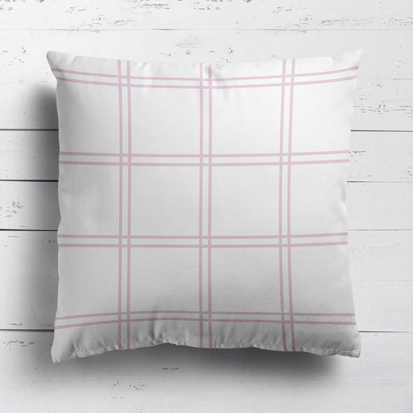 Double Window Pane Check Fabric - Peony