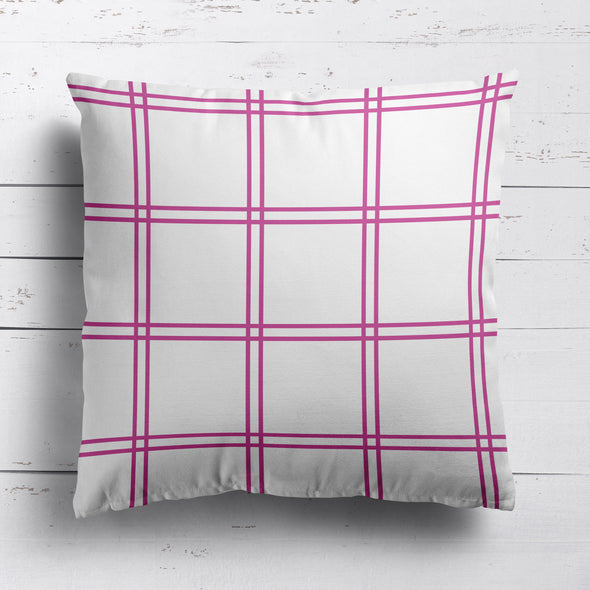 Double Window Pane Check Fabric - Tickled Pink