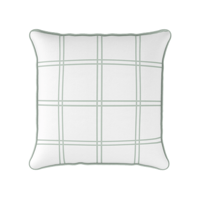Modern Check green piped cushion