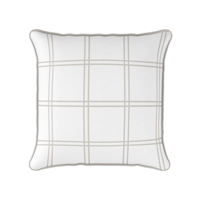 Modern Check beige piped cushion