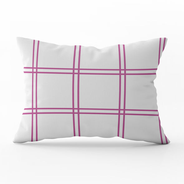 Double Window Pane Check Cushion - Pinks