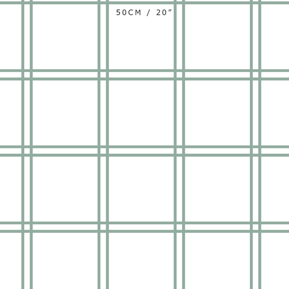 Double Window Pane Check Fabric - Eucalyptus