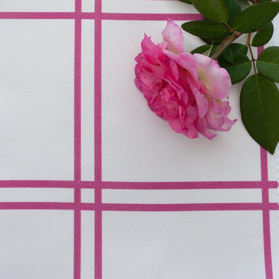 double window pane check fabric raspberry pink