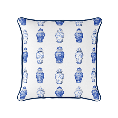 Chinoiserie blue and white ginger jar cushion
