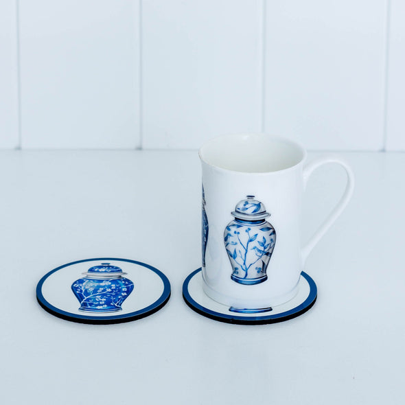 Chinoiserie ginger jar drink coasters