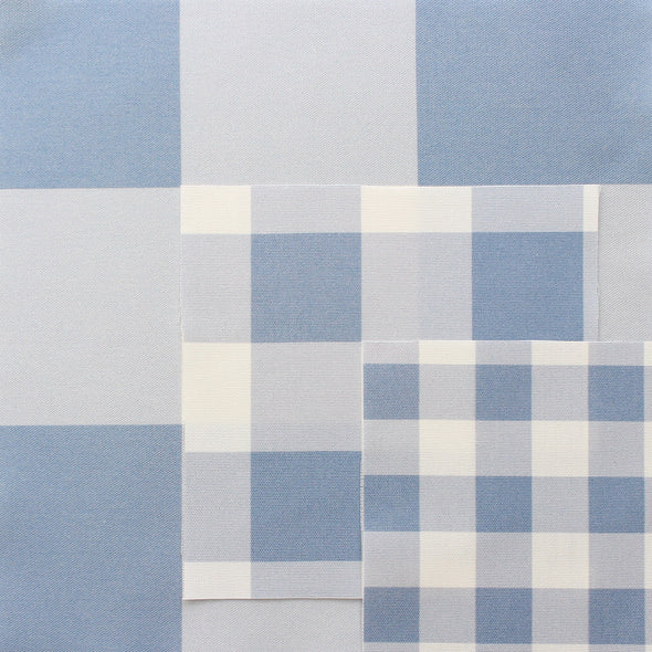 gingham check cotton linen fabric blue