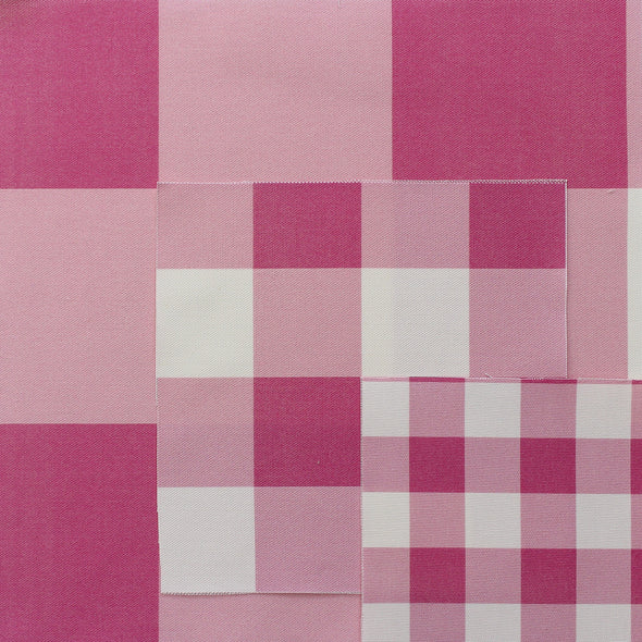 Jumbo gingham check cotton linen fabric Raspberry pink