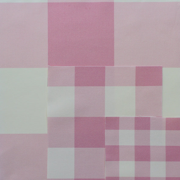 gingham check cotton linen fabric pink