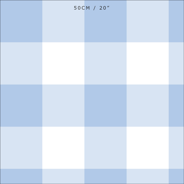 Jumbo gingham check cotton linen fabric blue