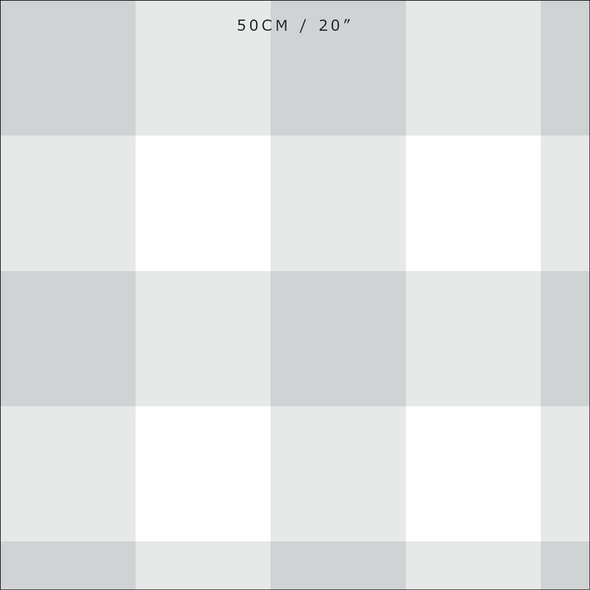 Jumbo gingham check cotton linen fabric dove grey