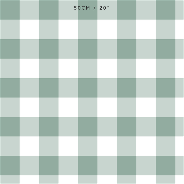 gingham check cotton linen fabric Eucalyptus green