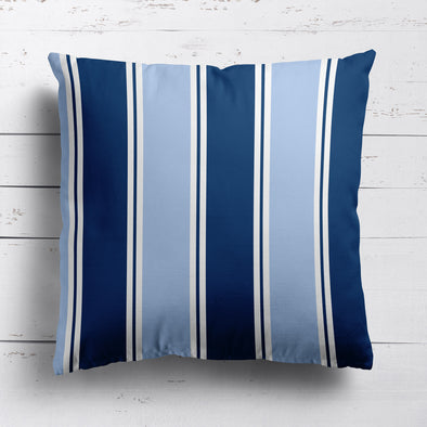 Grande Stripe cotton linen cushion in blues