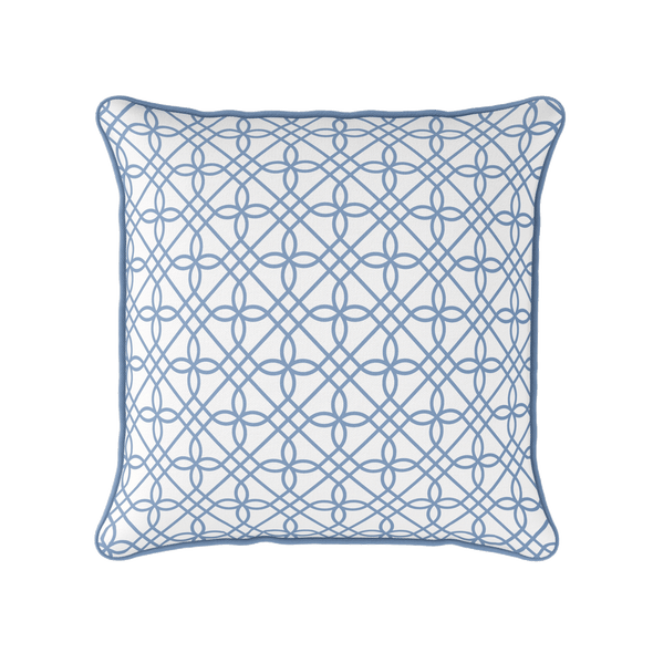 blue trellis piped cushion
